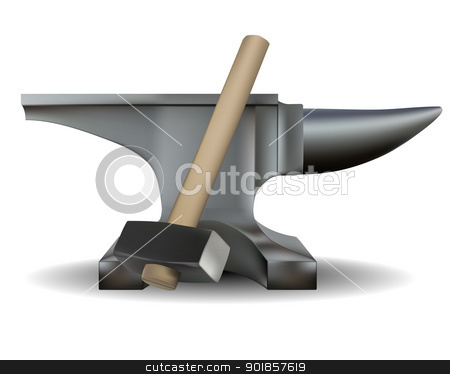 blacksmith's anvil and hammer stock vector clipart, blacksmith's anvil and hammer in shades of gray on a white background by Yuriy Mayboroda