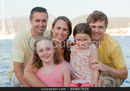 happy extended family stock photo, happy extended family parents with children , step families by mandygodbehear