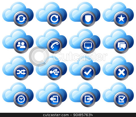 Virtual cloud icons Set 2 Blue stock vector clipart, Virtual cloud icons upload, download buttons, phone, restore, backup and save computer files and digital media by Fenton