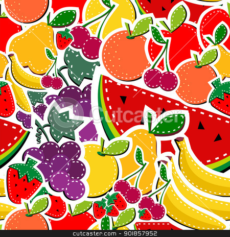 Sewing fruits seamless pattern stock vector clipart, Sewing fruits seamless pattern in block colors. Vector illustration layered for easy manipulation and custom coloring. by Cienpies Design