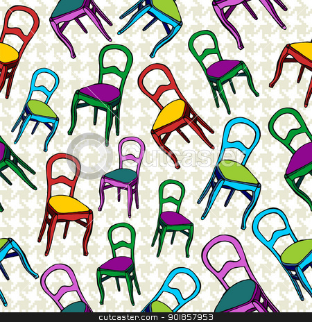 Vintage chairs seamless pattern background. stock vector clipart, Vintage chairs seamless pattern background. Vector file layered for easy manipulation and custom coloring. by Cienpies Design