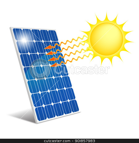 Panel photovoltaic stock vector clipart, Photovoltaic panel exposed to ...