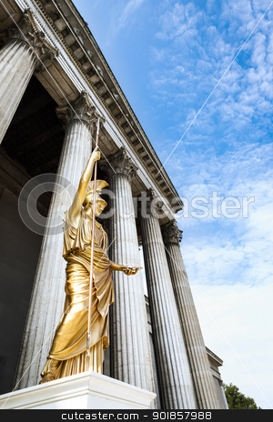 golden statue stock photo, An image of a nice golden statue under a blue sky by Markus Gann