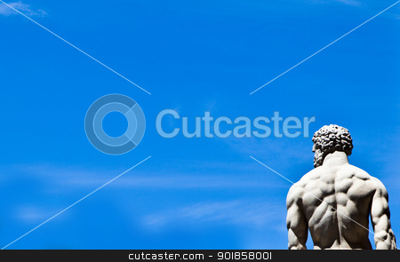 Statue on blue sky stock photo, Marble statue against a blue sky by Dario Rota