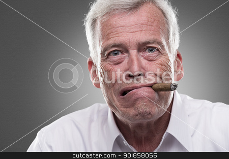 Puzzled man stock photo, Puzzled man with cigar in mouth by Instudio 68