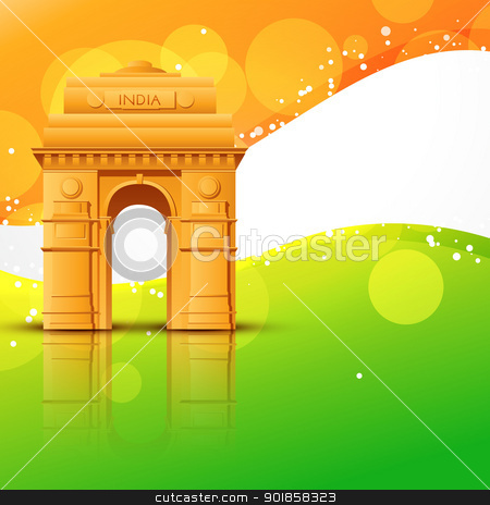 vector india gate stock vector clipart, vector india gate with indian flag design by pinnacleanimates