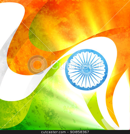 indian flag design stock vector clipart, indian flag in grunge style vector background by pinnacleanimates