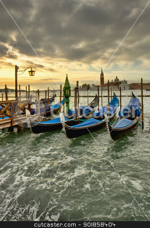 Venice gondolas stock photo, venice grunge scene with gondolas at sunset  by Ioan Panaite
