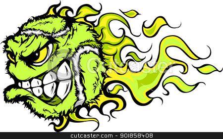 Tennis Ball Flaming Face Vector Image stock vector clipart, Flaming Tennis Ball Face Cartoon Illustration Vector by chromaco