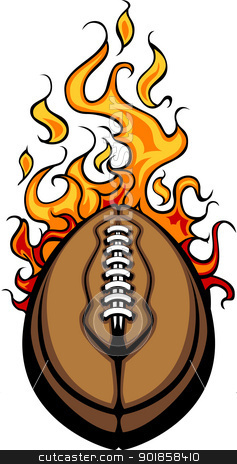 American Football Ball Flaming Vector Cartoon stock vector clipart, Flaming Football Ball Vector Cartoon burning with Fire Flames by chromaco