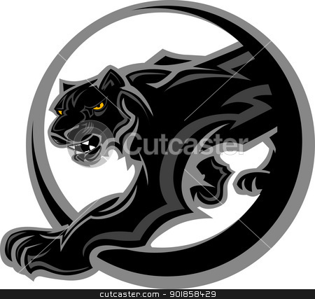 Panther Mascot Body Vector Graphic stock vector clipart, Graphic Mascot Vector Image of a Black Panther Body by chromaco