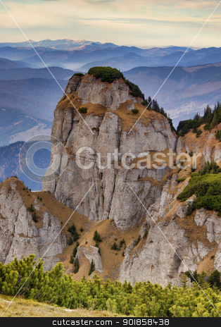 mountain rock stock photo, rocky mountain formation in Romanian Carpathians by Ioan Panaite