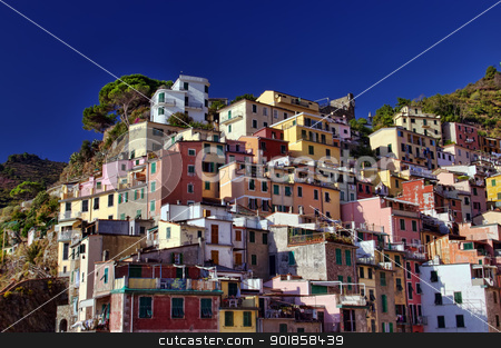 Riomaggiore buildings stock photo, traditional buildings in Riomaggiore, Cinque Terre, Italy  by Ioan Panaite