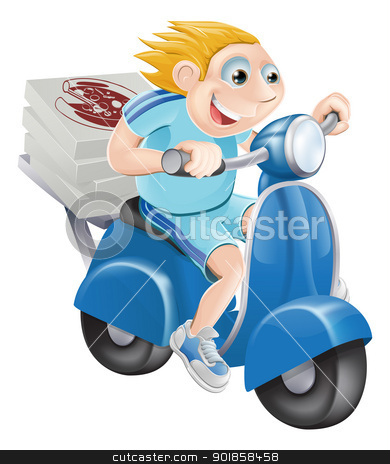 Fast pizza delivery man stock vector clipart, A cartoon pizza delivery man delivering pizza on his moped motor bike. by Christos Georghiou