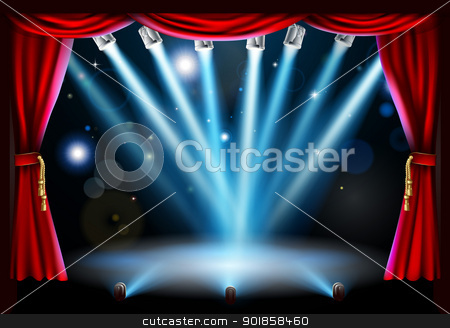 Centre stage background illustration stock vector clipart, Stage background illustration with blue stage spot lights pointing to the centre of the stage and red curtain frame by Christos Georghiou