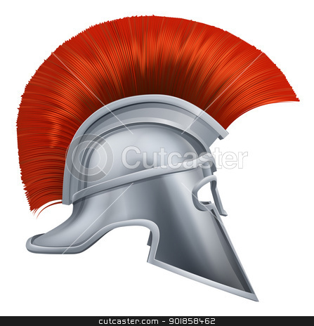 Ancient Greek Warrior Helmet stock vector clipart, Illustration of side on Spartan helmet or Trojan helmet also called a Corinthian helmet. Versions also used by the Romans. by Christos Georghiou