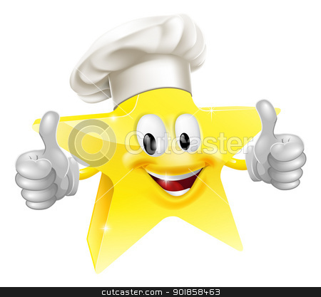 Star chef mascot stock vector clipart, Illustration of a star mascot in a chef or baker's hat, concept for best chef or similar by Christos Georghiou