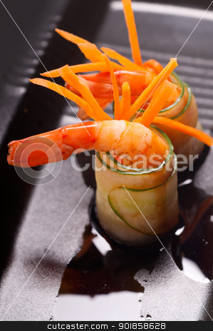 colorful  prawn shrimps appetizer snack stock photo, colorful  fresh prawn shrimps and vegetables appetizer snack antipasto by Francesco Perre