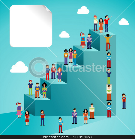 Social network people global growth stock vector clipart, Global expansion of social network people staircase infographic. Vector illustration layered for easy manipulation and custom coloring. by Cienpies Design