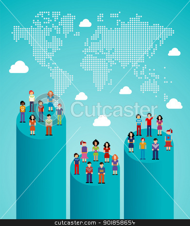 Social network people global growth stock vector clipart, Global expansion stats of social network people with World map. Vector illustration layered for easy manipulation and custom coloring. by Cienpies Design