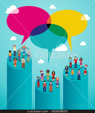 Social network people global viral communication stock vector clipart, Global expansion of social network population interaction using cloud computing. Vector illustration layered for easy manipulation and custom coloring. by Cienpies Design