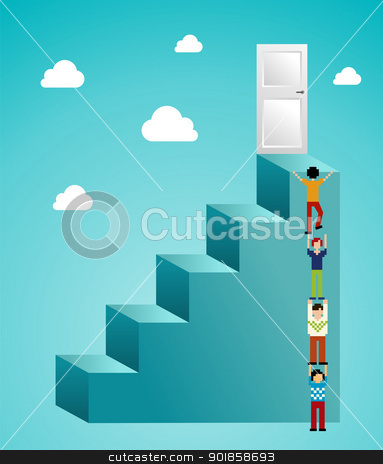Cloud computing expansion stock vector clipart, Global expansion of cloud computing concept illustration. Vector illustration layered for easy manipulation and custom coloring. by Cienpies Design