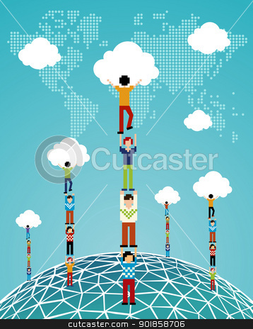 Cloud computing global success stock vector clipart, Global expansion of cloud computing concept illustration. Vector illustration layered for easy manipulation and custom coloring. by Cienpies Design