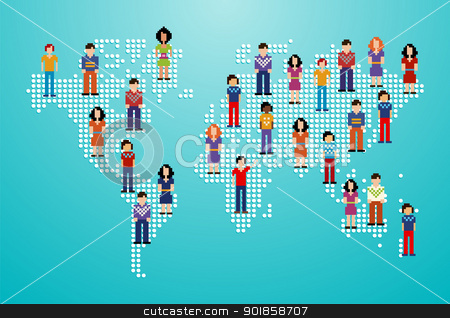 Global social media people network stock vector clipart, Global social media people network over World map. Vector illustration layered for easy manipulation and custom coloring. by Cienpies Design