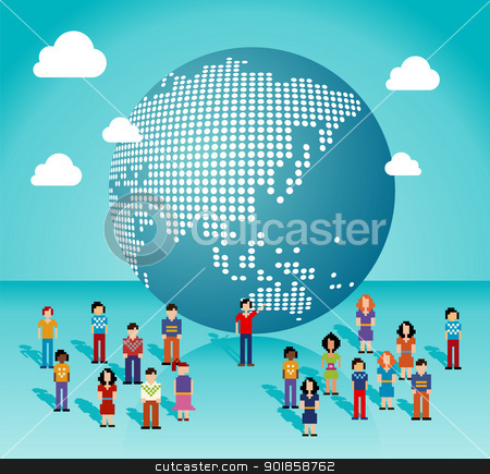 Global social media network in Asia map stock vector clipart, Global social media people network connection from Asia, Australia and Oceania map. Vector illustration layered for easy manipulation and custom coloring. by Cienpies Design