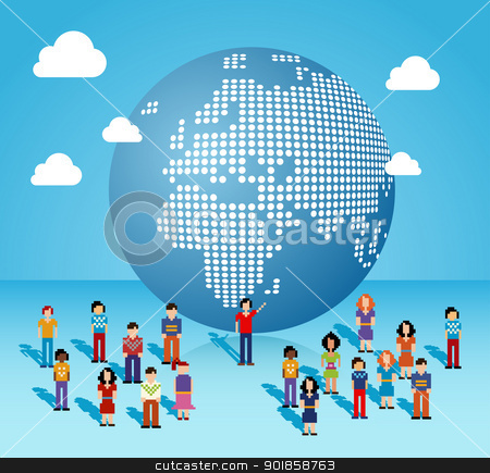 Global social media network in Europe and Africa stock vector clipart, Global social media people network connection from Africa, Europe and Middle East map. Vector illustration layered for easy manipulation and custom coloring. by Cienpies Design