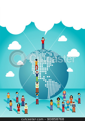 Social networks people growth in The Americas stock vector clipart, Social media network teamwork expansion in The Americas. Vector illustration layered for easy manipulation and custom coloring. by Cienpies Design