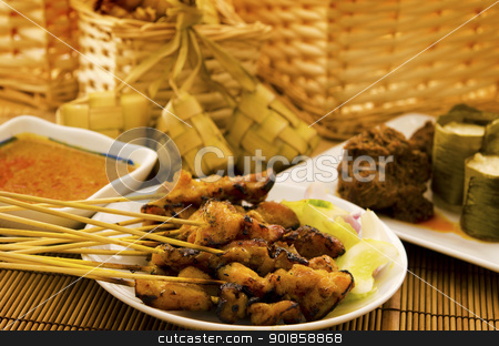 Asian malay Ramadhan foods stock photo, Asian malay Ramadhan foods, satay chicken, rendang, lemang and ketupat by szefei