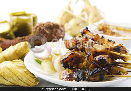 Asian cuisine stock photo, Delicious Asian Malay cuisine over white background by szefei