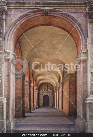 Antique Arcade stock photo, Antique Arcade in Bologna Italy by Anne-Louise Quarfoth