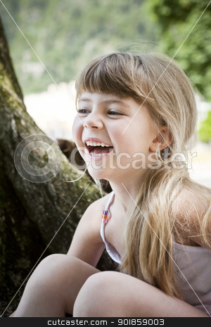 Laughing Girl stock photo, Portrait of a Laughing Girl by Anne-Louise Quarfoth