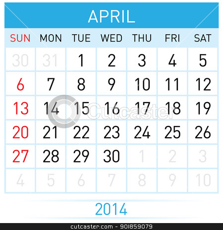 Calendar Month stock photo, April Twenty-Fourteen. Calendar Month. Illustration on white background by dvarg
