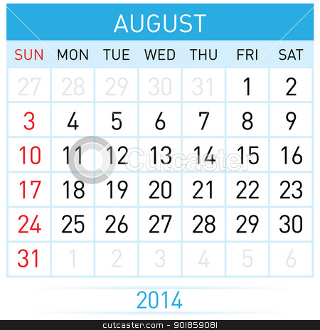 Calendar Month stock photo, August Twenty-Fourteen. Calendar Month. Illustration on white background by dvarg