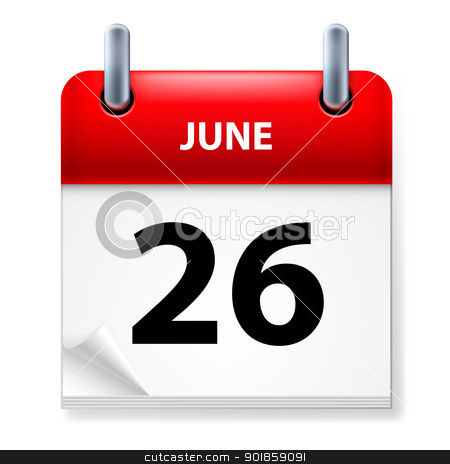Calendar stock photo,  Twenty-six June in Calendar icon on white background by dvarg