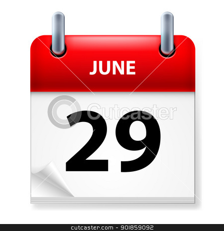 Calendar stock photo, Twenty-ninth June in Calendar icon on white background by dvarg