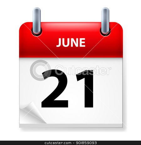 Calendar stock photo, Twenty-first June in Calendar icon on white background by dvarg