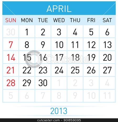 Calendar Month stock photo, April Twenty-thirteen. Calendar Month. Illustration on white background by dvarg