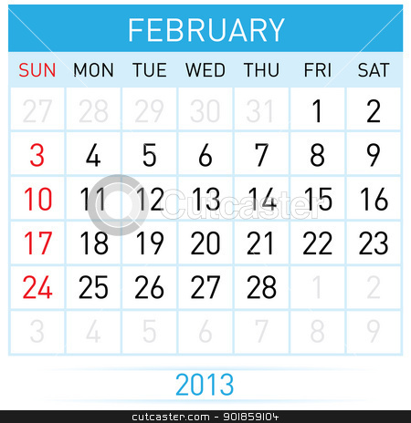 Calendar Month stock photo, February Twenty-thirteen. Calendar Month. Illustration on white background by dvarg