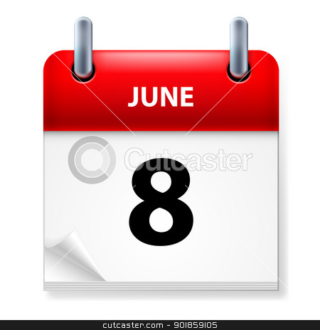 Calendar stock photo, Eighth June in Calendar icon on white background by dvarg