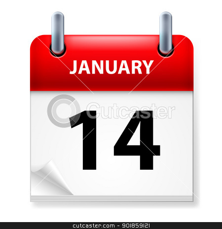 Calendar stock photo, Fourteenth January in Calendar icon on white background by dvarg