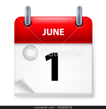 Calendar stock photo, First June in Calendar icon on white background by dvarg