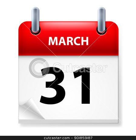 Calendar stock photo, Thirty-first March in Calendar icon on white background by dvarg