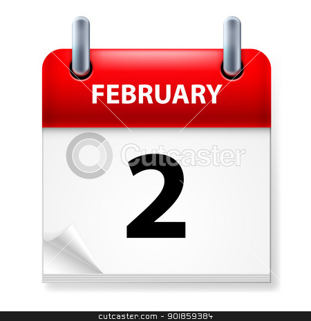 Calendar stock photo, Second February in Calendar icon on white background by dvarg