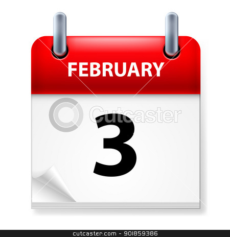 Calendar stock photo, Third February in Calendar icon on white background by dvarg