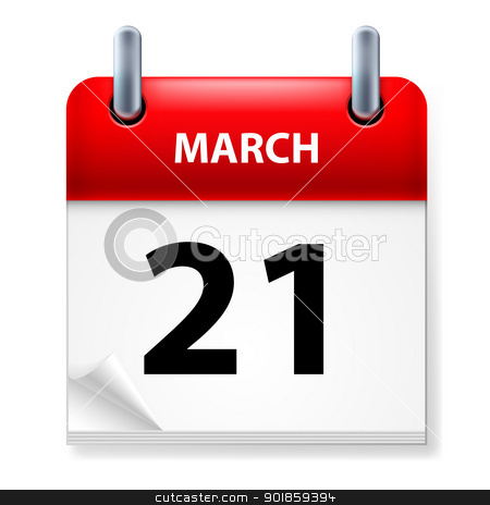Calendar stock photo, Twenty-first March in Calendar icon on white background by dvarg