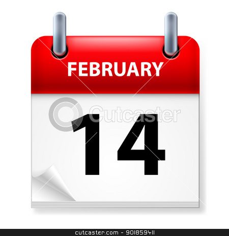 Calendar stock photo, Fourteenth February in Calendar icon on white background by dvarg